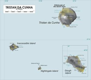 Mapa del archipiélago de Tristán da Cunha (incluyendo isla Gough).